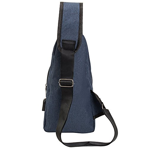 Brust Rucksack mit USB Lade-Por Taschen Umhängetaschen Schulter Dreieck packt Tagesrucksäcke für den Radsport zu Fuß Hund wandern jungen und Männer Frauen Blau