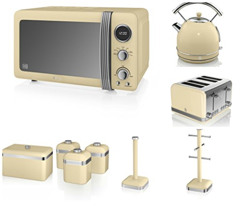 Swan Cream Kitchen Appliance Retro Set Of 9 - Retro Digital Microwave, 20 Litre, 800 Watt, 1.7 Litre Dome Kettle & Retro Stylish 4 Slice Toaster, Retro Bread Bin, 3 Canisters, Towel Pole And 6 Mug Tree Set