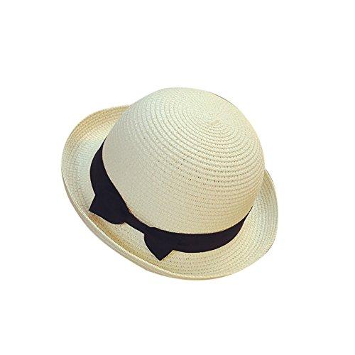 Elegant Strand Trilby Fedora Hut Curling Strohhut Frauen Mode Bow Tie Faltbar Sommer Kappe Atmungsaktiv Panama Sonnenhut Vintage Jazz Gangster Cap mit Sonnenschutz Breite Krempe (Weiß) Elegante Mode Hut
