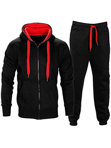 Da uomo Contrasto Corda pile con cappuccio Top Pantaloni Palestra Jogging Set Tuta Black/Red M