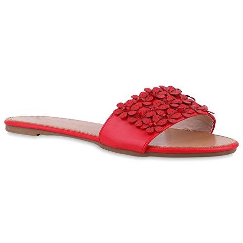 Damen Pantoletten Blumen Sandalen Strass Sommer Schuhe Rot
