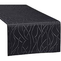 Tischläufer, FARBE wählbar, Streifen Tischband, einfach genäht, ECKIG 40x140 cm, Dunkelgrau, Beautex