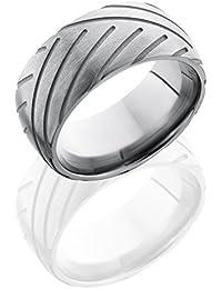 SlipRock Titanium, Satin Finish Engraved Wedding Band Sandblasted Accents (sz H to Z1)