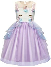 Girls Kids Flower Bridesmaid Unicorn Dress Party Princess Prom Wedding Christening Dress Cosplay Party Tutu Skirt