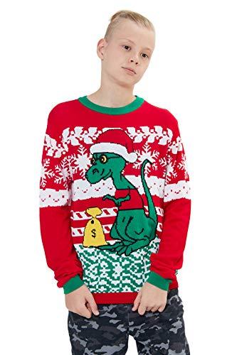 Loveternal Xmas Jumper Kinder Urlaub Pullover Unisex Weihnachten Dinosaurier Sweater Cute Family Christmas Jumpers Alter 7-8 Jahre