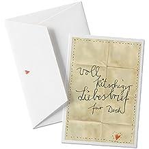 Witzige Valentinskarte - voll kitschiger Liebesbrief für Dich - zum Valentinsgeschenk, Jahrestag, Heiratsantrag auf edlem Büttenpapier BEIGE mit Umschlag, für Verliebte Grüße