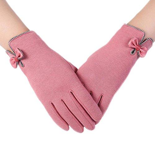 Internet Mujeres de la manera de la pantalla táctil de invierno al aire libre del deporte guantes calientes (rosa)
