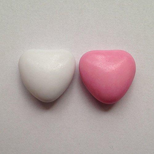 Schokoherzen weiß-rosa 1 kg (ca. 500-550 St.) - Gastgeschenke Hochzeit Bonboniere Candy Bar Give Aways - Herzdragees Schokolinsen Herz Schokodragees Schokoladenherzen - Alternative zu Hochzeitsmandeln
