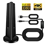 TV Aerial, Indoor 60 Miles Digital HDTV Amplified Antenna Arial Freeview 4K 1080P HD VHF UHF for Local Channels With Amplifier Support ALL Television-14.8 feet Coax Cable
