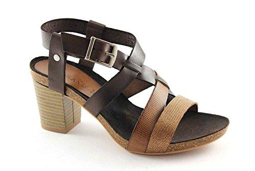 GRUNLAND CIMA SB0678 multi cuoio sandali donna pelle cinturino tacco Marrone