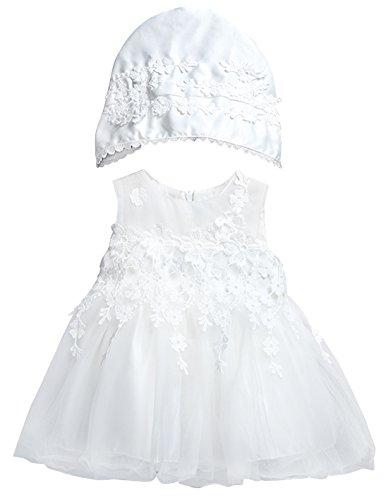 �dchen Hochzeitkleid Taufkleidung mit Kappe Prinzessin Blumenmädchenkleid Vollmond Partykleid Festzug Geburtstagsfeier Kleid ()