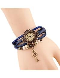 Demarkt Reloj de pulsera Accesorios retro de metal y Correa de cuero multicapa, ajustable con hebillas(negro)