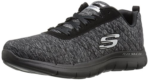 Skechers Flex Appeal 2.0, Damen Low-top, Schwarz (BKCC), 36 EU (3 UK)