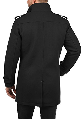 BLEND Warren Herren Wollmantel lange Jacke aus hochwertiger Wollmischung mit Stehkragen