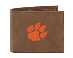 NCAA Clemson Tigers Zep-Pro Crazyhorse Leather Passcase Embroidered Wallet, Light Brown