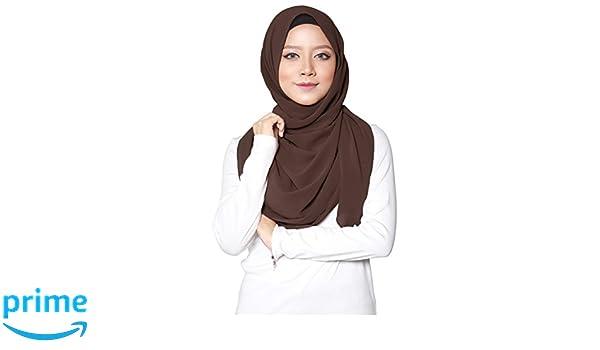 Turban I Baumwolle Pashmina Hijab Kopftuch f/ür muslimische Frauen I Islamische Kopfbedeckung 75 x 180 cm I Damen Gesichtsschleier Schal Dunkelbraun ❤️ SAFIYA