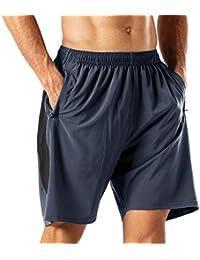 Herren Sport Shorts Schnell Trocknend Kurze Hose mit Reißverschlusstasch