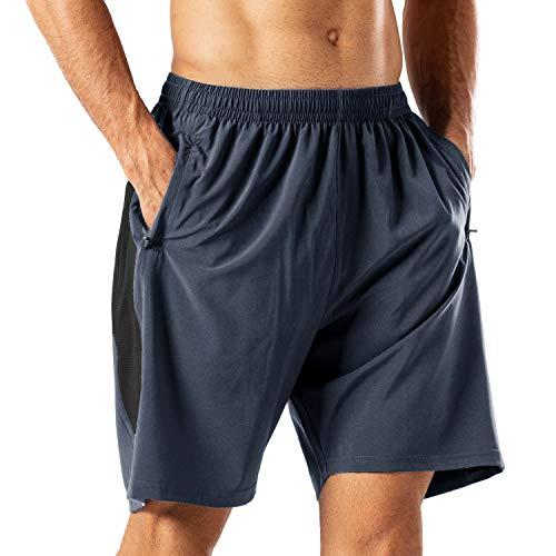Sport Shorts (Herren Sport Shorts Schnell Trocknend Kurze Hose mit Reißverschlusstasch(Grau,M))