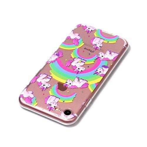 Fodlon® Kuchen Transparent Weich Hülle für Apple iphone 7 Regenbogen-Einhorn
