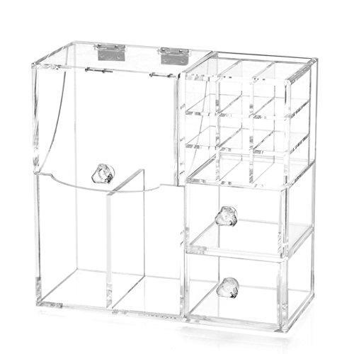 Étui cosmétique HWF Transparent Clamshell Pearl Makeup Box Acrylique Boîte de Rangement en Plastique Anti-poussière Box Organisateur