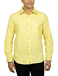 Kuons Avenue Men's Slim Fit Blonde Yellow Self Weave Cotton Silk Traditional Casual Party Shirt