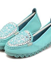 ZQ Zapatos de mujer - Tacón Plano - Punta Redonda - Mocasines - Casual - Semicuero - Azul / Rosa / Blanco , pink-us8...