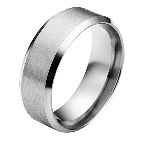 JOVIVI Men's Women's Stainless Steel Brushed Matte Finished Beveled Edge Silver Engagement Wedding Band Ring (8mm Wide)