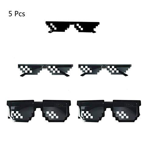 Formemory 5 Mosaik Sonnenbrille,Thug Life Brille/Deal mit ihm Brille/Pixelbrill für Unisex UV 400 Schutz Brillen Spaßbrille für Mottoparty