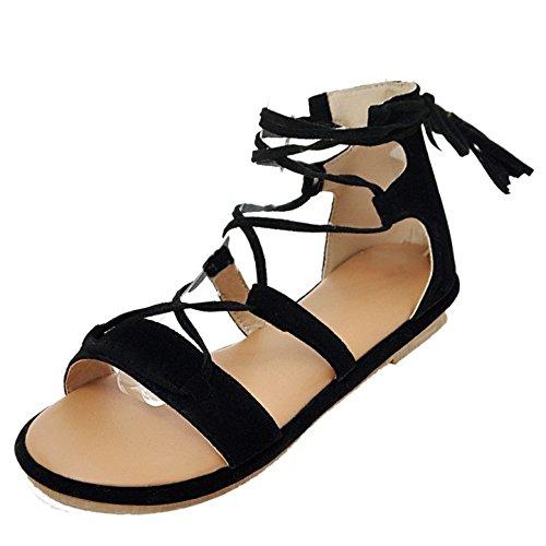 TAOFFEN Classique Gladiateur Ete Sandales Lacets Plat Plage Chaussures Noir