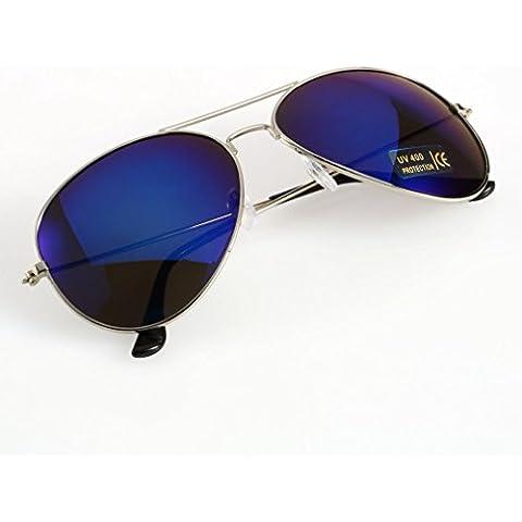 Classica cornice + obiettivo Quicksilver Unisex Nuovo Blu Bianco Argento Lenti a Specchio Marrone Oro Nero Occhiali da sole