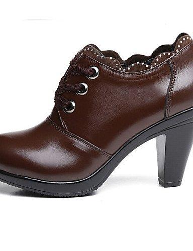 ZQ Scarpe Donna - Stringate - Formale / Casual - Comoda / Chiusa - Quadrato - Pizzo / Finta pelle - Nero / Marrone , brown-us6.5-7 / eu37 / uk4.5-5 / cn37 , brown-us6.5-7 / eu37 / uk4.5-5 / cn37 black-us6.5-7 / eu37 / uk4.5-5 / cn37