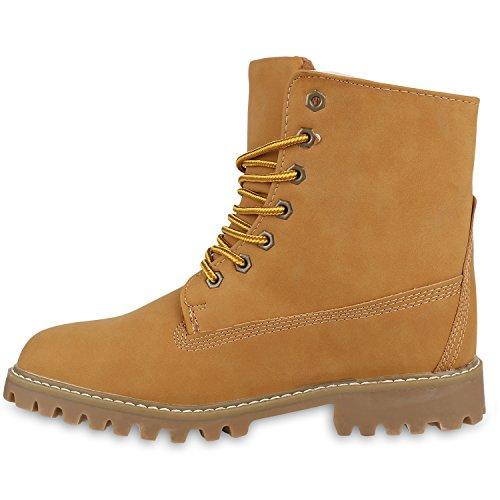 Herren Outdoor Worker Boots Schnürstiefel Profilsohle Hellbraun Hellbraun