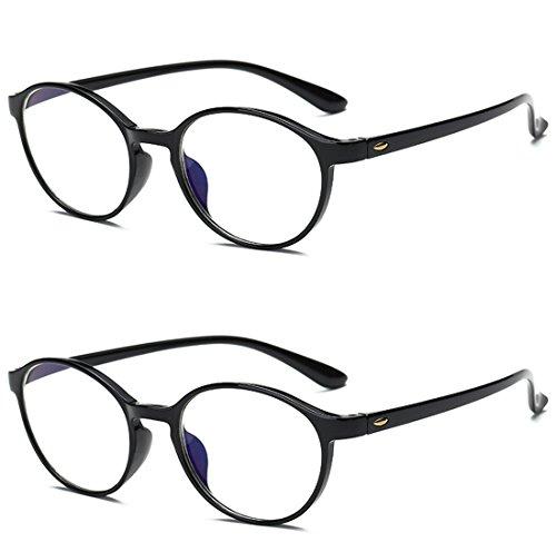VEVESMUNDO® Lesebrillen Damen Herren Computer Lesebrille Augenoptik Flexibel Lesehilfe Sehhilfe Arbeitsplatzbrille Anti Blue Rays Leser Brille Schwarz Leopard (2 Stücks Set(SCHWARZ+SCHWARZ), 2.5)
