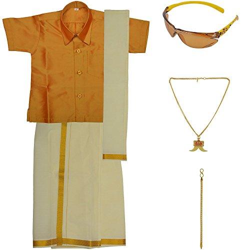 Preethi Dresses Boys' Art Silk Dhoti Set (PDBBB001_Gold _ 06-12 Months)