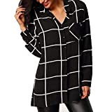 Damen Sommer Elegant Langarm V Ausschnitt Lange Kariert Hemd Chiffon Perfect Bluse Lose Oberteil Tops Shirt Herbst Style (Color : Schwarz, Size : 2XL)