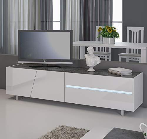 Kasalinea Meuble TV Blanc laqué avec éclairage à LED intégré Design Julia