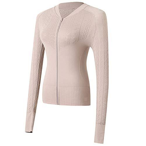 Lemedy felpe a manica lunga da donna slim fit giacca da zip camicie (beige, m)