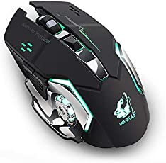 Leoie Rechargeable Wireless Silent LED Backlit Gaming Mouse USB Optical Mouse for PC Black