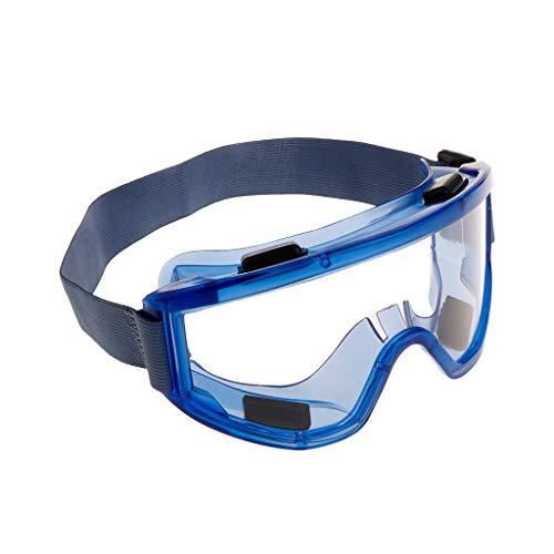 Schutzbrille Schutzbrille Augenschutz Anti-Splash transparente Gläser Verstellbarer Kopfgurt Industrielle Labor Forschung Radfahren Reiten blau