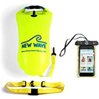 New Wave Swim Buoy - Swimming Tow Float and Drybag for Open Water Swimmers and Triathletes - Light and Visible Float for Safe Training and Racing Bundle with Waterproof Pouch (Green PVC Medium-15L Bundle)