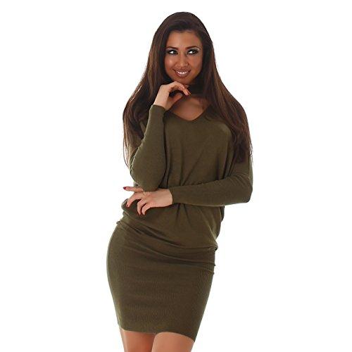 VOYELLES Damen Strickkleid oder Long-Pullover mit Fledermausärmel, in vielen Farben erhältlich Gr. 36-40 Olivegrün