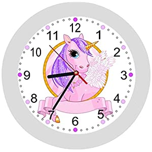 ✿ Kinderwanduhr in 4 Farben ✿ Einhorn Unicorn 3 ✿ Wanduhr ✿ KEIN TICKEN ✿ mit/ohne Name