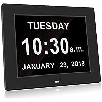 Reloj de día HeQiao, digital, con fecha y hora, calendario, relojes especiales para personas con demencia, alzheimer, pérdida de memoria, calendario electrónico, letras de gran tamaño para las personas mayores, color blanco, negro, negro