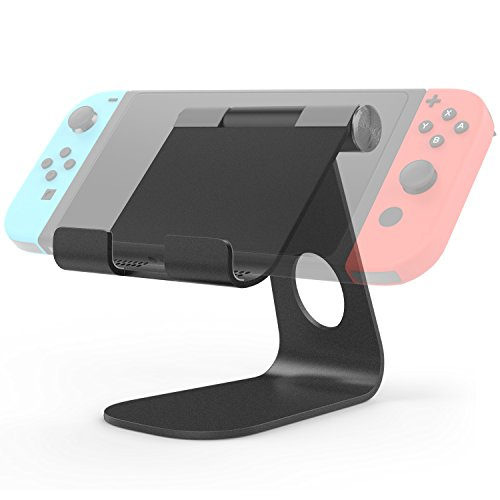 Price comparison product image MoKo Nintendo Switch Stand, Compact 210 Degree Multi-Angle Rotatable Aluminum Alloy Desktop Cradle Holder Display Playstand for Nintendo Switch, Silver