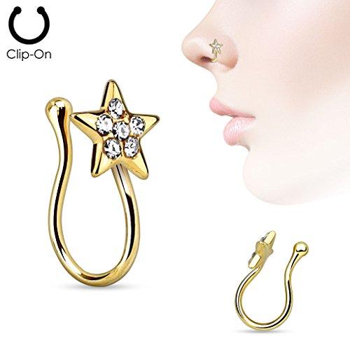 Coolbodyart Femme Nasenclip Piercing de nez faux Piercing Pince avec étoile et Cristaux en or, Or rose, Argent aussi au Kit économique 3´homme Ensemble