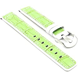 StrapsCo Green / White Crocodile Embossed Leather Watch Strap size 24mm