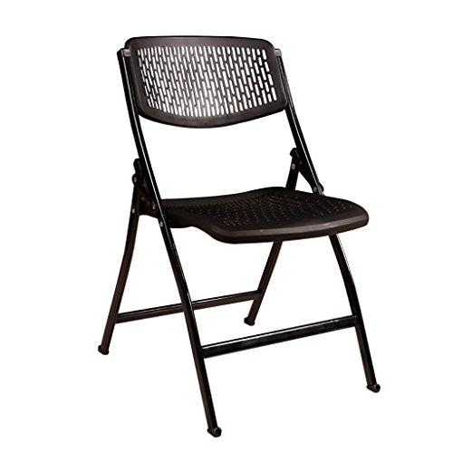 Chaises pliantes Chaises d'ordinateur Chaises longues ultra-légères portables pour le ménage Chaises de conférence Chaises en plastique Pied en acier (Couleur : Noir)