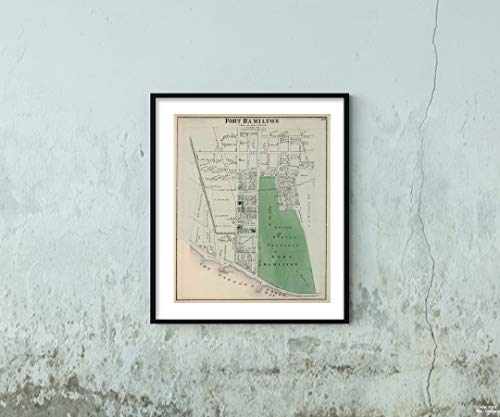1873 Map County Atlas Fort Hamilton in New Utrecht. Long Island Historic Antik Vintage Nachdruck, Größe: 50,8 x 61 cm -