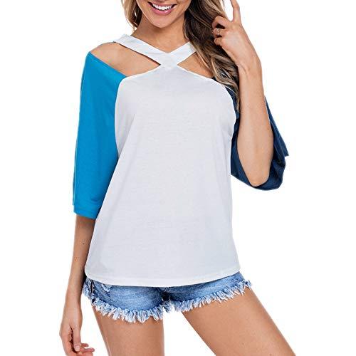 Bigwomen Camiseta Slim XL Bicolor para Mujer con Escote Sencillo y Tirantes.