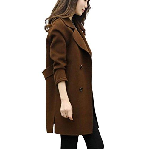 LuckyGirls ❤️• •❤️ Chaqueta de invierno para mujer Otoño Parka Cardigan Abrigo de abrigo delgado Abrigo de lana largo de doble botonadura de color (S, Café)